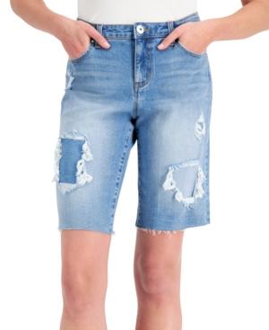 Patchwork Bermuda Jean Shorts