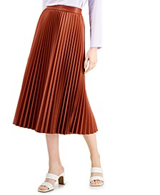 Petite Faux-Leather Pleated Midi Skirt, Created for Macy's