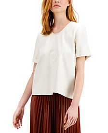Mixed-Media Cuffed-Sleeve Top, Created for Macy's