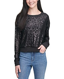 Cotton Allover Sequin Pullover Sweater