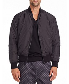 Tallia Men's Slim Fit Reversible Black Quilted Bomber Jacket and a Free Face Mask With Purchase
