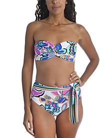 Mandalay Printed Twist Bandeau Bikini Top & High-Waist Bottoms