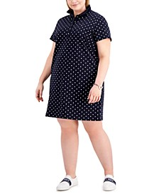 Plus Size Dot Print Short-Sleeve Polo Dress, Created for Macy's