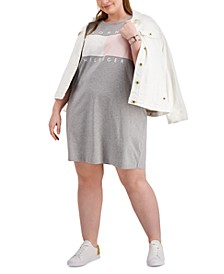 Plus Size Short-Sleeve Logo Dress, Created for Macy's