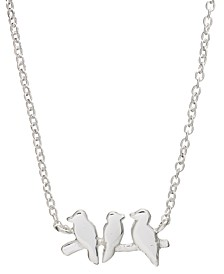 "Mini Bird Pendant Necklace in Sterling Silver, 16"" + 2"" extender"