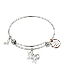 "Crystal ""Make Your Own Magic"" Unicorn Adjustable Bangle Bracelet in Stainless Steel and Rose Gold Two-Tone Fine Silver Plated Charms"
