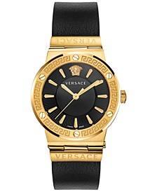 Women's Swiss Black Leather Strap Watch 38mm