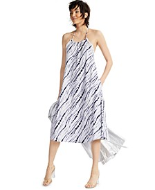 INC EARTH Printed Raw-Edge Halter Dress, Created for Macy's
