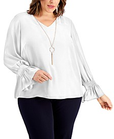 Plus Size Smocked-Sleeve Necklace Top, Created for Macy's