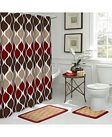Clarisse Geometric Bathroom Shower Set, 15 Piece