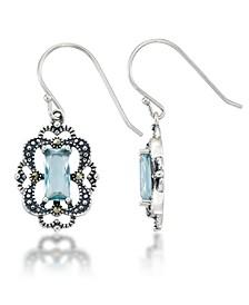 Blue Topaz Filigree Oval Dangle Earrings