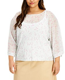 Plus Size Floral-Print Top And Camisole, Created for Macy's