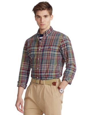 폴로 랄프로렌 Polo Ralph Lauren Mens Classic-Fit Madras Shirt,Red/Navy Multi