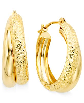 10k Gold Double Hoop Earrings Earrings Jewelry & Watches Macy s