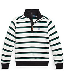 Little Boys Striped Cotton Quarter Zip Pullover Polo Shirt