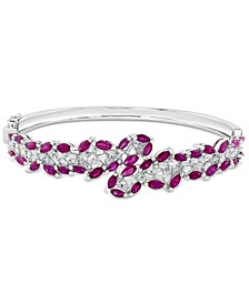 EFFY® Ruby (5-1/3 ct. t.w.) & Diamond (1 ct. t.w.) Bangle Bracelet in 14k White Gold