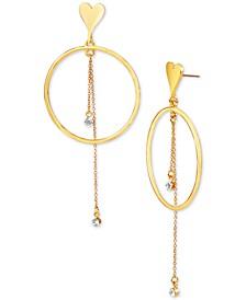 Gold-Tone Heart & Hoop Crystal Chain Drop Earrings