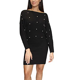 Juniors' Imitation-Pearl-Embellished Sweater Dress