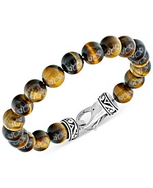 Men's Tiger's Eye Bead Bracelet in Stainless Steel