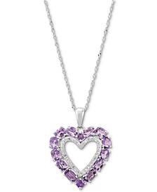 """Amethyst (2 ct. t.w.) & White Topaz (1/5 ct. t.w.) Heart 18"""" Pendant Necklace in Sterling Silver"""