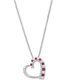"Ruby (1/3 ct. t.w.) & White Sapphire (1/3 ct. t.w.) Heart 18"" Pendant Necklace in Sterling Silver"