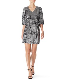 Shimmer Foil Puff-Sleeve Dress, Created for Macy's