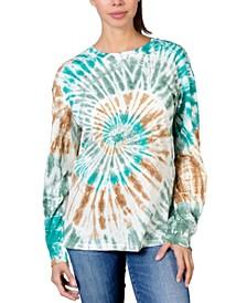 Juniors' Cotton Swirl Tie-Dyed Top