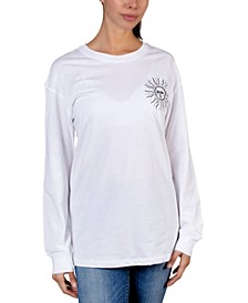 Juniors' Cotton Back Graphic Top