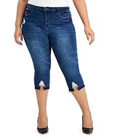 Trendy Plus Size Destructed-Hem Skinny Capri Jeans