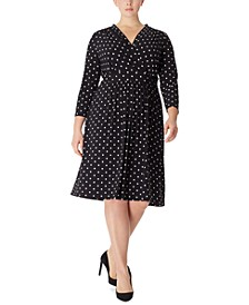 Plus Size Dot-Print Knit Dress