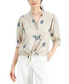 Linen Embroidered Tie Top, Created for Macy's