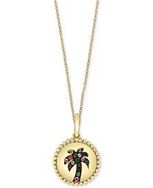 "EFFY® Multicolor Sapphire (1/10 ct. t.w.) & Tsavorite (1/20 ct. t.w.) Palm Tree Disc 18"" Pendant Necklace in 14k Gold"