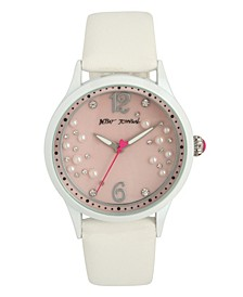 Women's Scattered Pearl Stone White Polyurethane Strap Watch 40mm