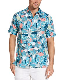 Men's Flamingo Palm-Print Poplin Shirt