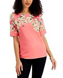 Elbow Sleeve Printed Boat-Neck Top, Created for Macy's