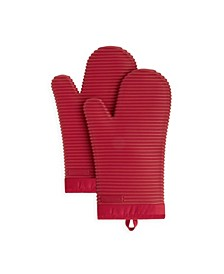 Ribbed Soft Silicone 2-Pc. Oven Mitt Set