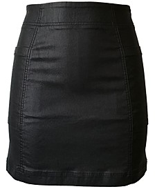 Juniors' Coated Denim Mini Skirt