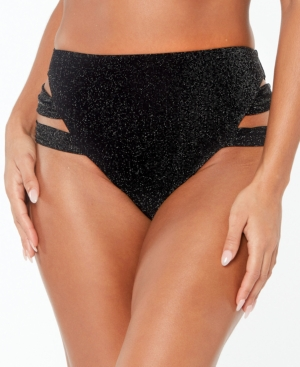 Shimmer Strappy-Leg High-Rise Bikini Bottoms