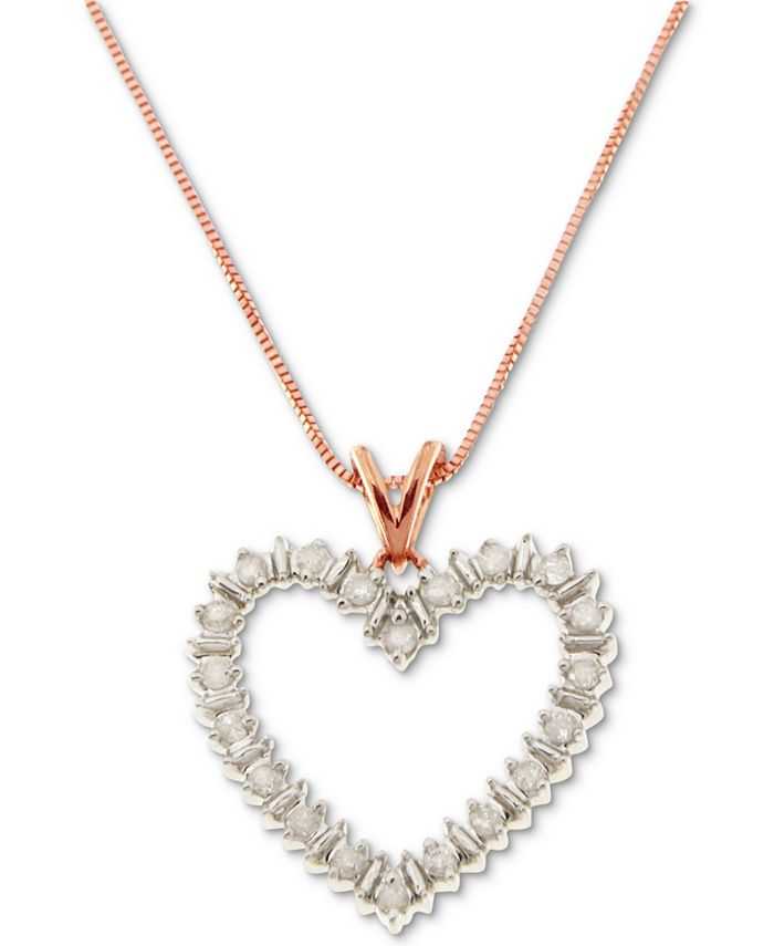 "Macy's - Diamond Heart 18"" Pendant Necklace (1/10 ct. t.w.) in Gold-Plated Sterling Silver, Rose Gold-Plated Sterling Silver or Sterling Silver"