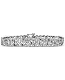 Diamond Heart Link Bracelet (1 ct. t.w.) in Sterling Silver