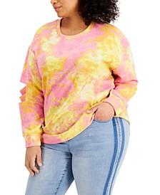 Plus Size Tie-Dyed Slit-Sleeve Sweatshirt