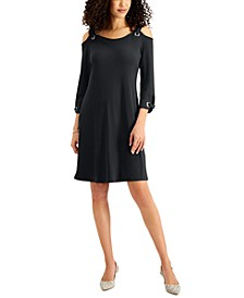 Solid 3/4-Sleeve Cold-Shoulder Dress, Created for Macy's