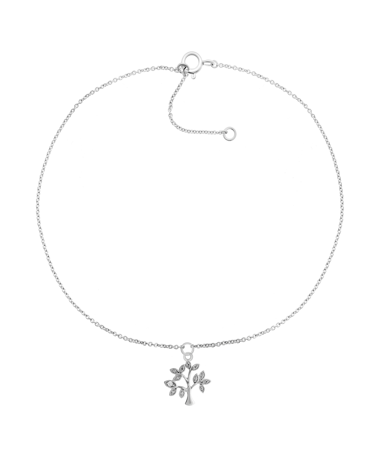 """Diamond Accent Tree of Life Anklet in Sterling Silver, 9"""" + 1"""" extender"""