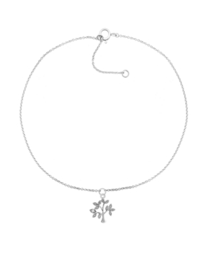 """Macy's Diamond Accent Tree Of Life Anklet In Sterling Silver, 9"""" + 1"""" Extender"""