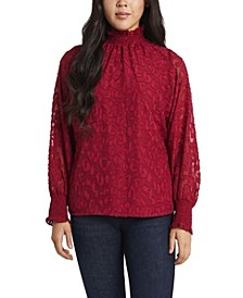 Women's Smocked Neck Animal Jacquard Blouse
