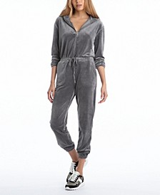 Women's Velour Hooded Jumpsuit