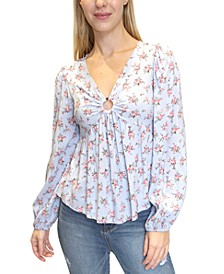 Juniors' Floral-Print Babydoll Top