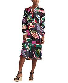 Satin Flag Print Skirt