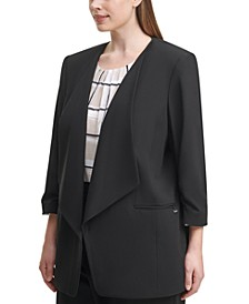 Plus Size 3/4-Sleeve Open-Front Jacket