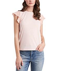 Suzi Stripe-Print Flutter-Sleeve Top, Created for Macy's